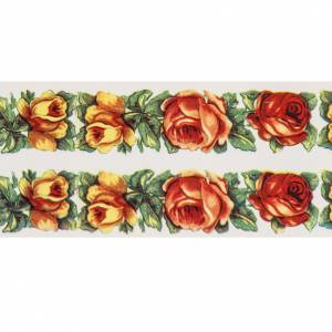 Candles, large candles: Decalcomania for Paschal candle, 2 stripes rose frame.