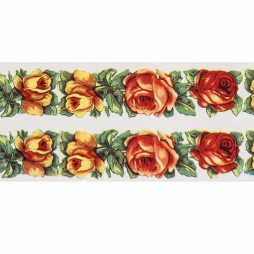 Decalcomania per cero pasquale cornice di rose 2 strisce s2