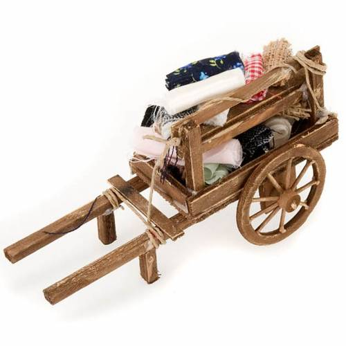 Décor crèche chariot bois avec tissus s2