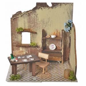 Maisons, milieux, ateliers, puits: Décor crèche de noël cartes sur table 20x14x20cm