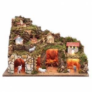 Maisons, milieux, ateliers, puits: Décor crèche maisons et moutons avec lumières 35x50x25 cm