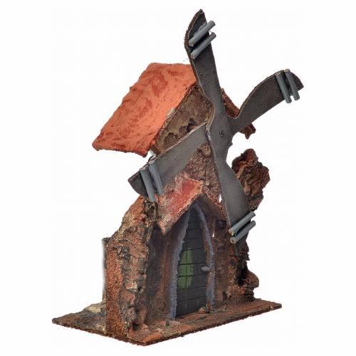 Décor crèche Napolitaine moulin à vent stucqué 23x23x20cm s6
