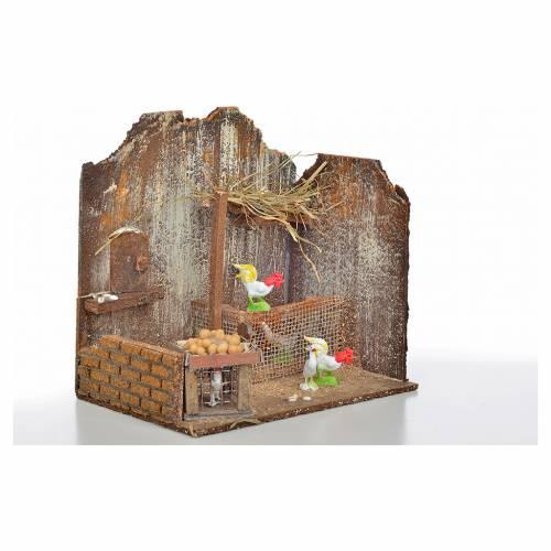 Décor crèche poulailler avec poules et oeufs 20x14x20 s2