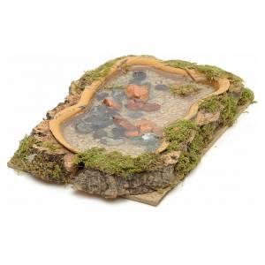Ponts, ruisseaux, palissades pour crèche: Décor de crèche, lac effet eau 15x10 cm