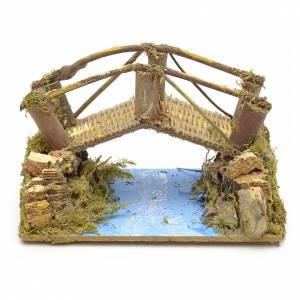 Ponts, ruisseaux, palissades pour crèche: Décor de crèche, pont sur rivière 15x10 cm.