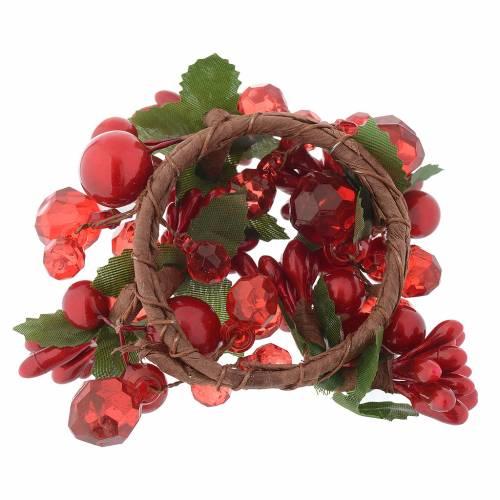 Décoration couronne Noël avec perles rouges s2