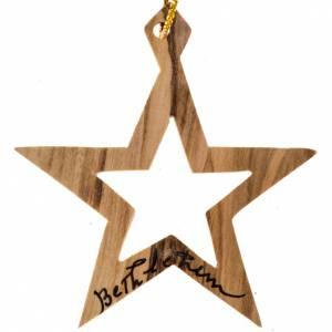 Décorations sapin bois et pvc: Décoration sapin bois olivier Bethléem étoile