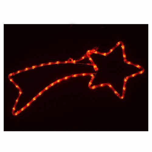 Decorazione stella cometa 36 led rossi per esterno 65x30 cm s2