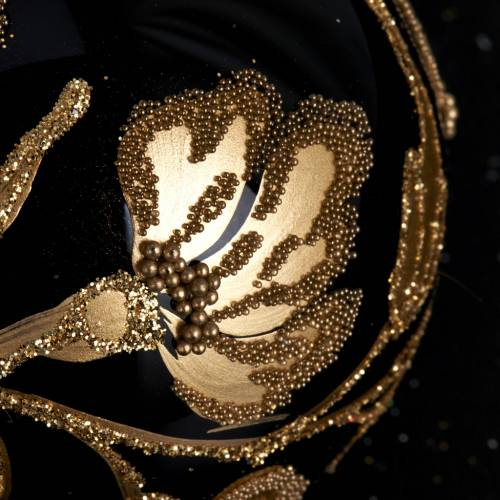 Decoro Albero Natale, palla vetro nera oro 6 cm s3