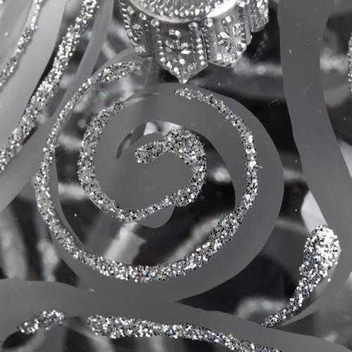 Decoro Albero Natale, palla vetro trasparente argento 6 cm s3