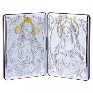 Bas reliefs en argent: Diptyque Sacré Coeur Marie Jésus bi-laminé avec arrière bois massif détails or 14x21 cm