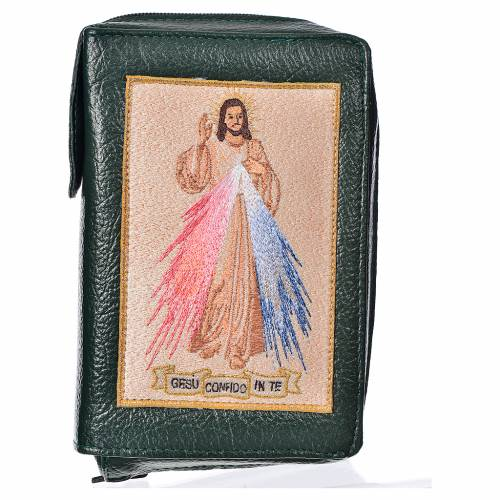 Divine office cover, green bonded leather Divine Mercy s1