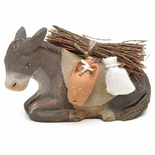 Donkey sitting down with harness for nativity scene 10 cm s1