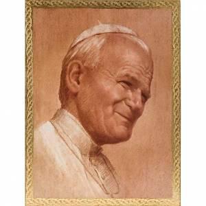 Bilder, Miniaturen, Drucke: Druck Papst Johannes Paul II aus Holz