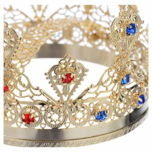 Ducal crown in gold plated brass with strass s3
