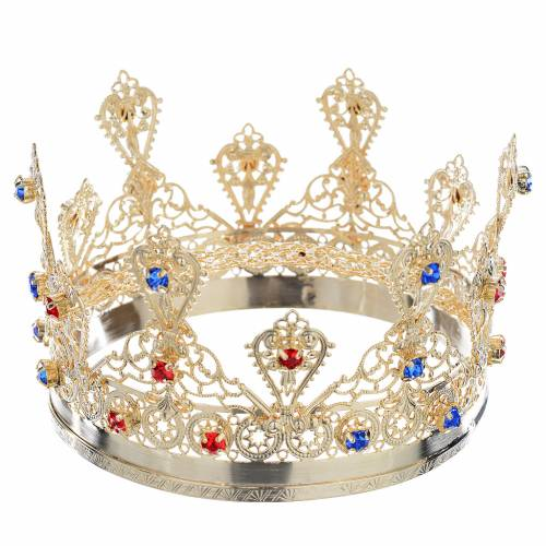 Ducal crown in gold plated brass with strass s1