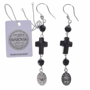 Earrings with cross and Miraculous Medal made of 800 silver s2