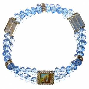 Elastic bracelet in real crystal 6mm, aqua s1