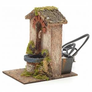 Electric fountain for nativities with roofing 15x10x13cm s2