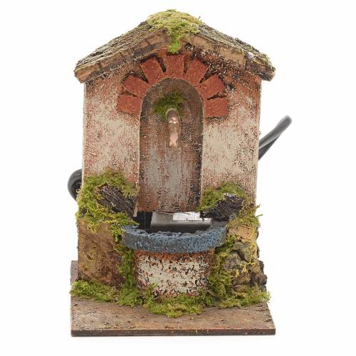 Electric fountain for nativities with roofing 15x10x13cm s1