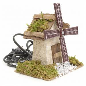 Watermills and windmills: Electric wind mill for nativities 12x13x9cm