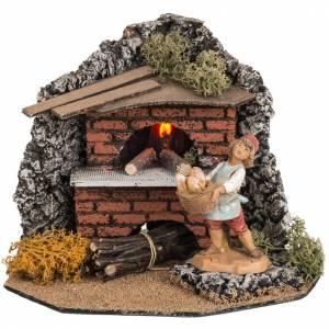 Krippe Öfen und Lagerfeuer: Elektrischer Ofen für Dorf Fontanini 12 cm