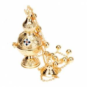 Encensoirs et navettes: Encensoir style orthodoxe croix email