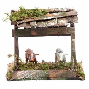 Maisons, milieux, ateliers, puits: Enclos pour vaches avec toit 12x14,5x10 cm