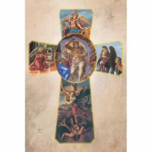 Estampas Religiosas: Estampa Cruz con Arcángeles