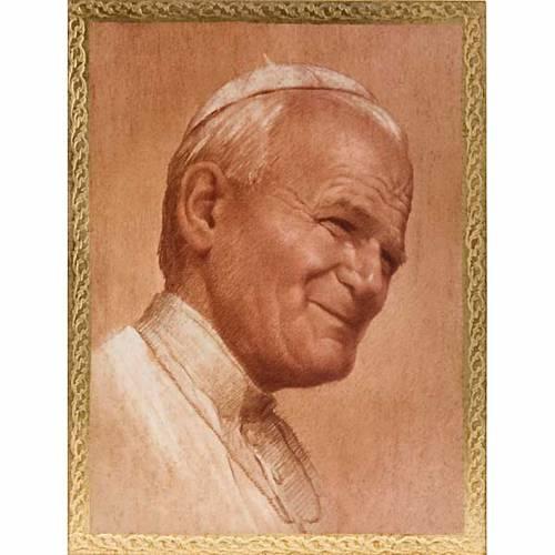Estampa Papa Juan Pablo II en madera s1