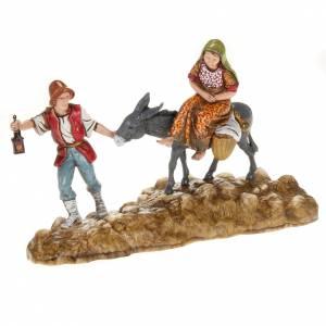 Figuras del Belén: Estatuas belén Moranduzzo pastor y burro con mujer 10 cm.