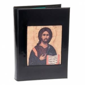 Etui lectionnaire , noir, cuir, image du Christ Pantocrator s1