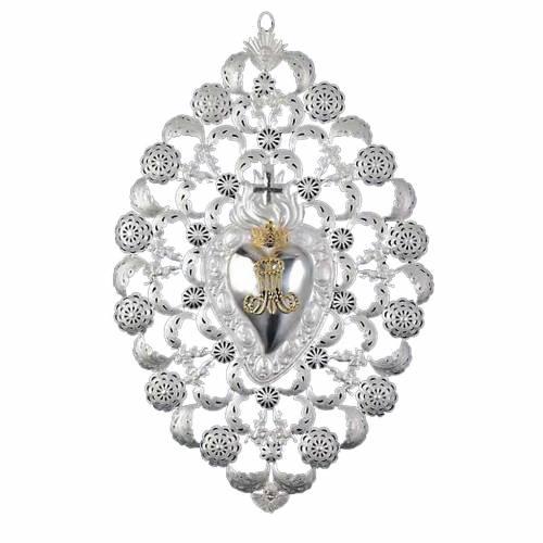 Ex-voto Corazón votivo corona filigrana 35 x 52 cm. s1