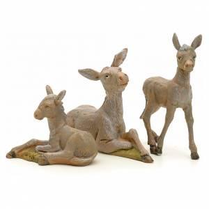 Animales para el pesebre: Familia de asnos pesebre 12 cm Fontanini 3 pz
