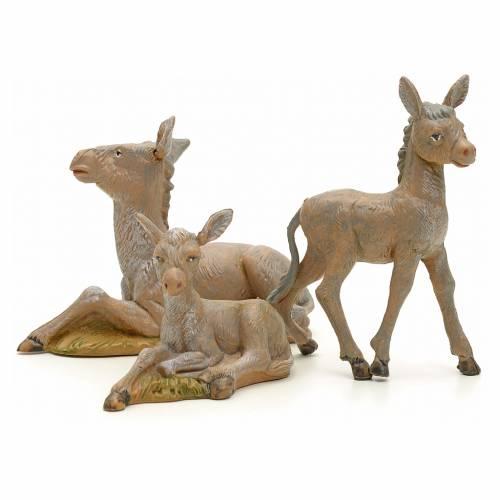 Famille d'ânes crèche Fontanini 12 cm 3 pcs s2