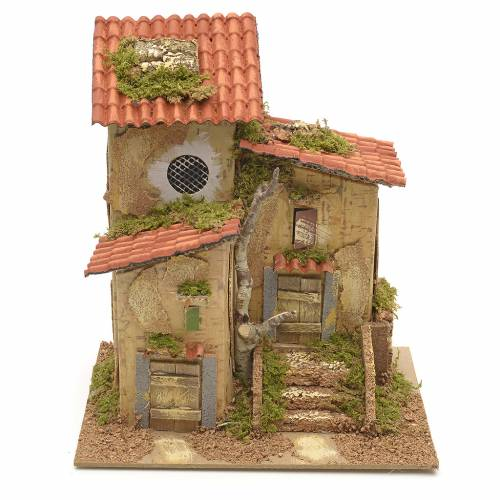 Farmhouse with two entrances for nativities 25x21x16cm s1