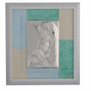 Bonbonnière: Favour with Baby Jesus, sky blue and green in silver 29x26cm