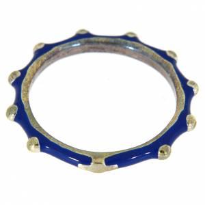 Anelli preghiera: Fedina rosario MATER smaltata argento 925 blu