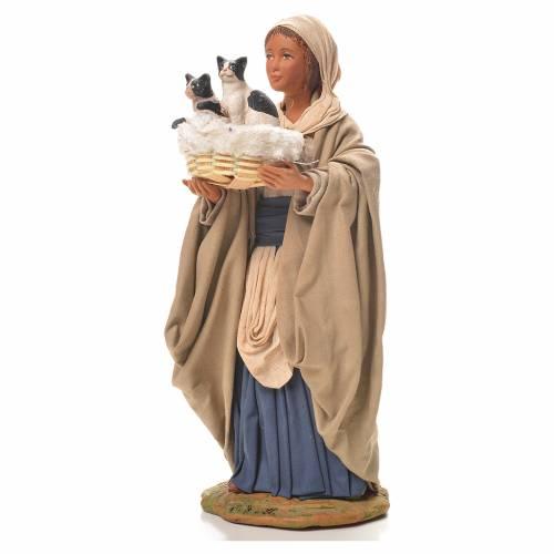 Femme avec chats dans un panier 24 cm crèche napolitaine s2