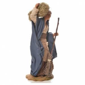 Femme avec paille et balais 24 cm crèche napolitaine s4