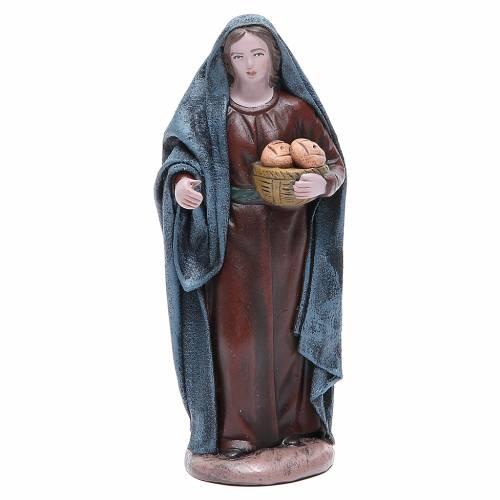 Femme avec panier de pain 17 cm santon terre cuite s1