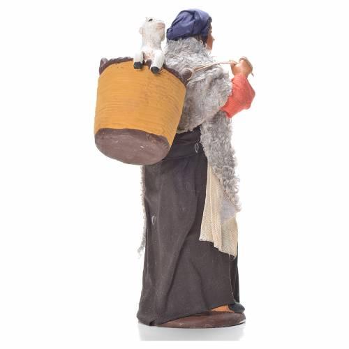 Femme panier avec agneau sur épaules 14 cm crèche Naples s2