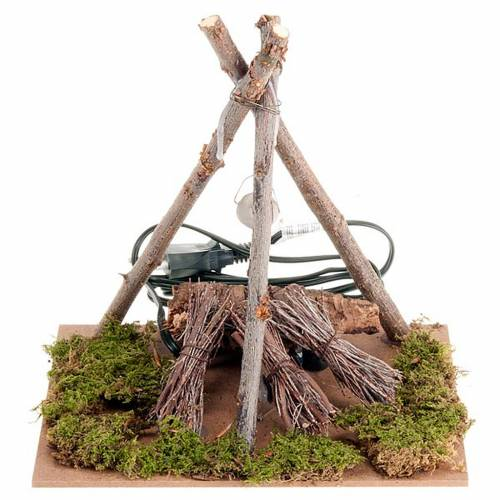 Feu de bois électrique  pour crèche avec fagots s1