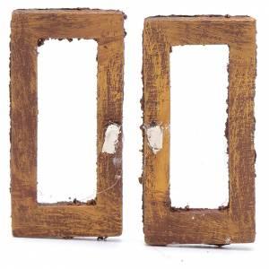 Ringhiere, inferriate, porte: Finestra rettangolare 5 cm legno set 2 pz per presepe