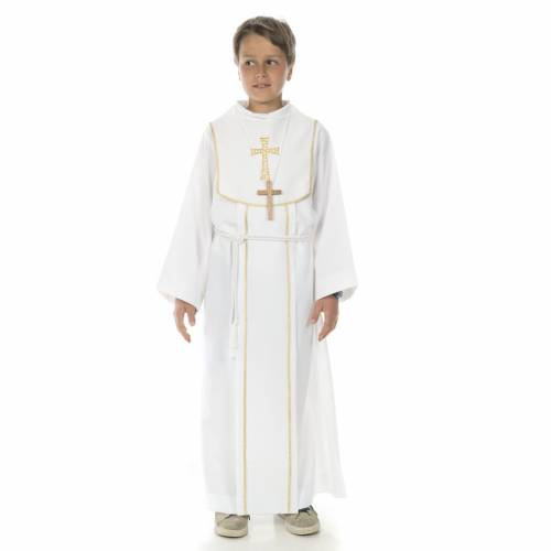 First Communion alb for boy, honeycomb embroidery s1