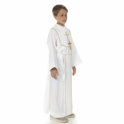 First Communion alb for boy, honeycomb embroidery s3