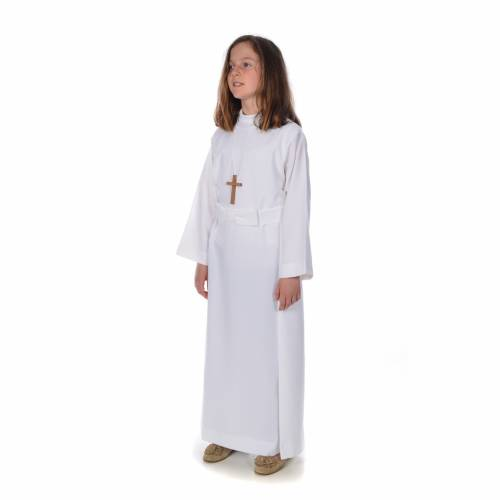 First communion alb for girl with bow s3
