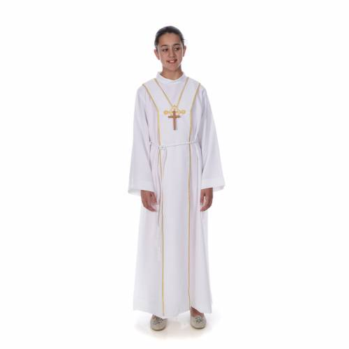 First Communion alb, with embroidered stole s1