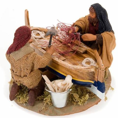 Fishermen with boat for nativity scene 10 cm s1