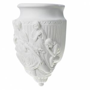 Flower holder, appliqué, in reconstituted marble way of the cros s3